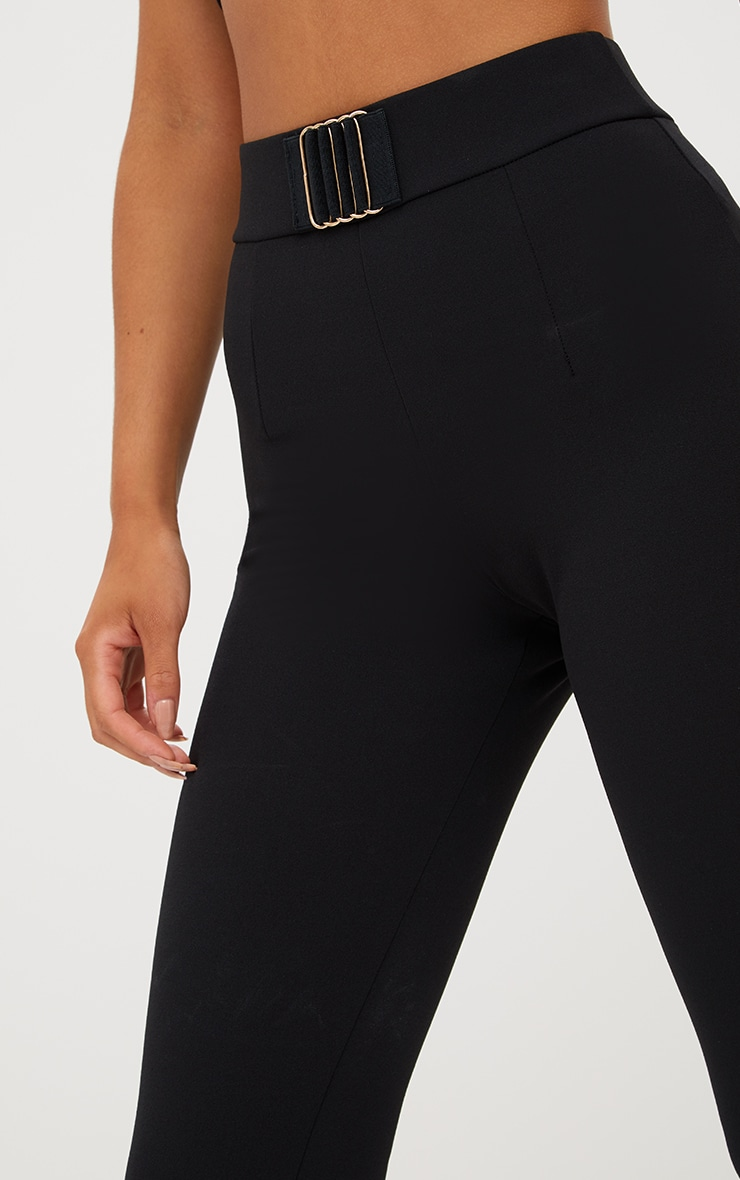 Black Belt Trim Detail Fitted Pants 6