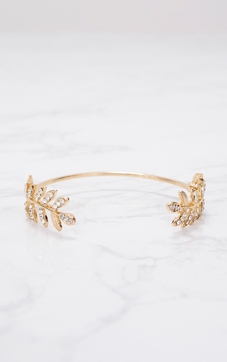 Gold Diamante Leaf Detail Arm Cuff 3