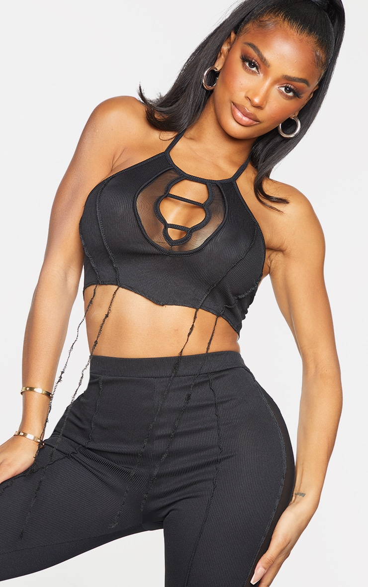 Shape Black Rib Mesh Panel Halterneck Crop Top 4