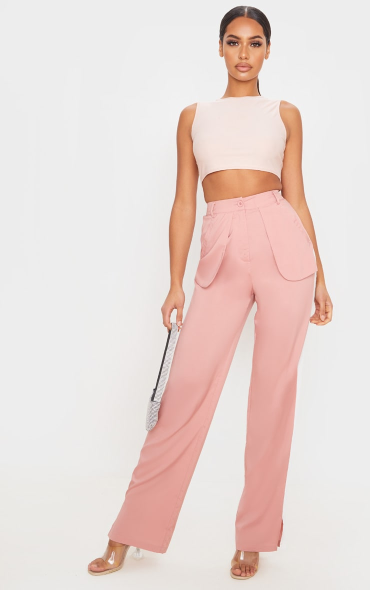 Dusty Pink Inside Out Pocket Trousers 1
