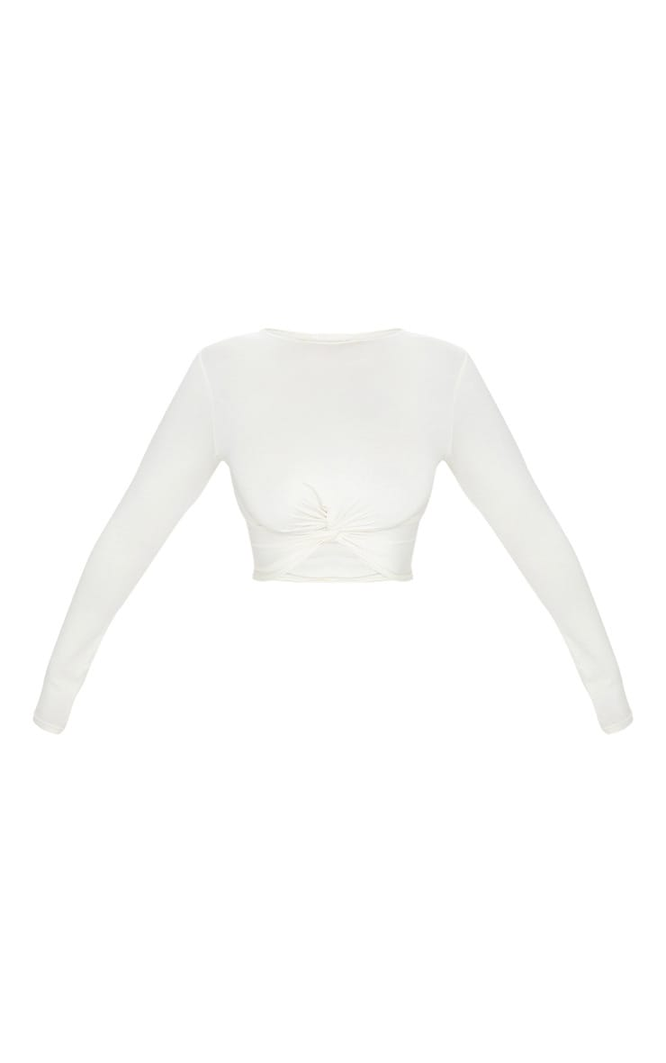 Cream Jersey Long Sleeve Knot Hem Crop Top 3