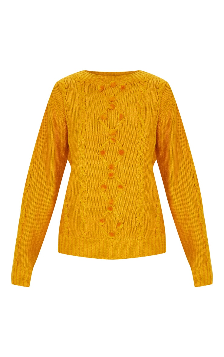 Mustard Pom Pom Detail Cable Knitted Jumper 3