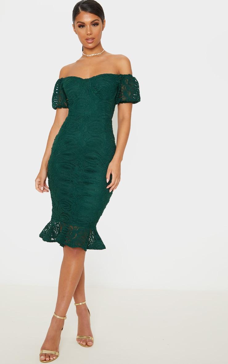 Emerald Green Cup Detail Lace Bardot Midi Dress 1