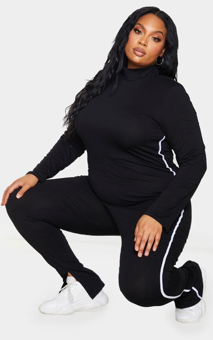 Plus Black Sports Stripe High Neck Jumpsuit 3