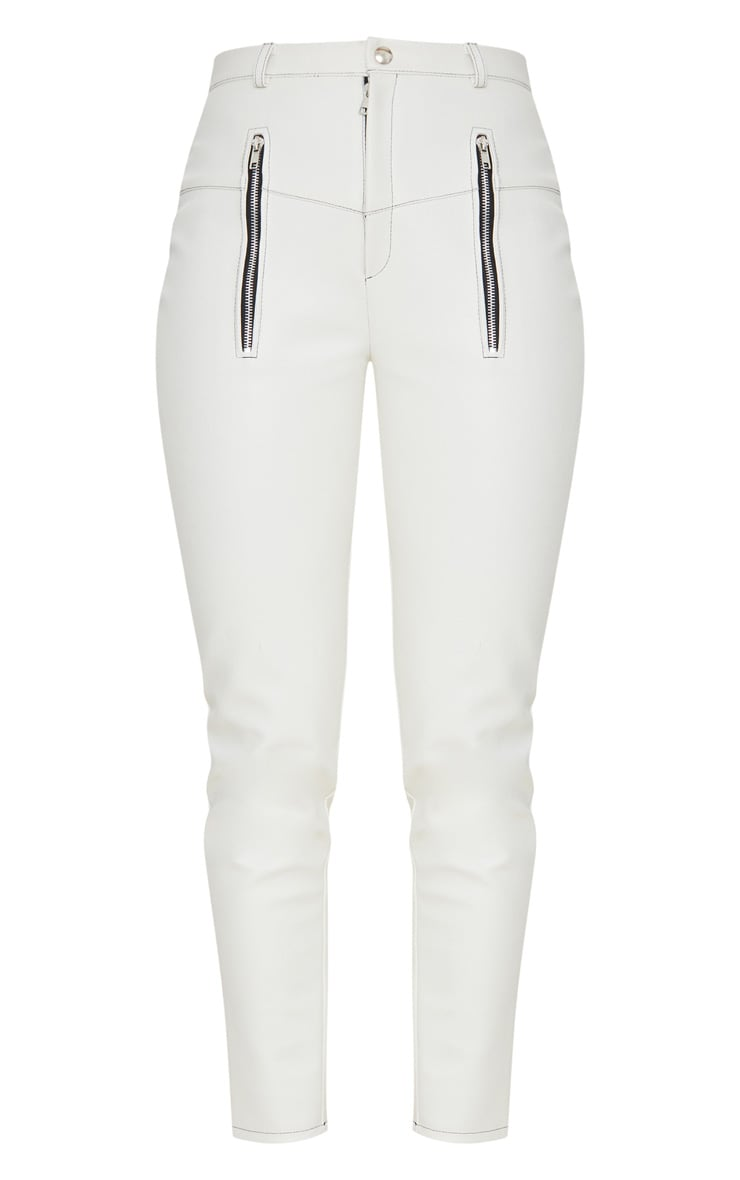 White Faux Leather Contrast Stitch Trouser 3
