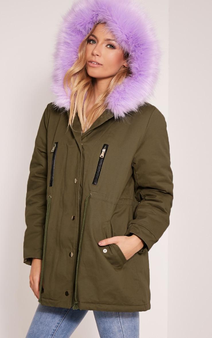 Nia Lilac  Faux Fur Lined Parka 4