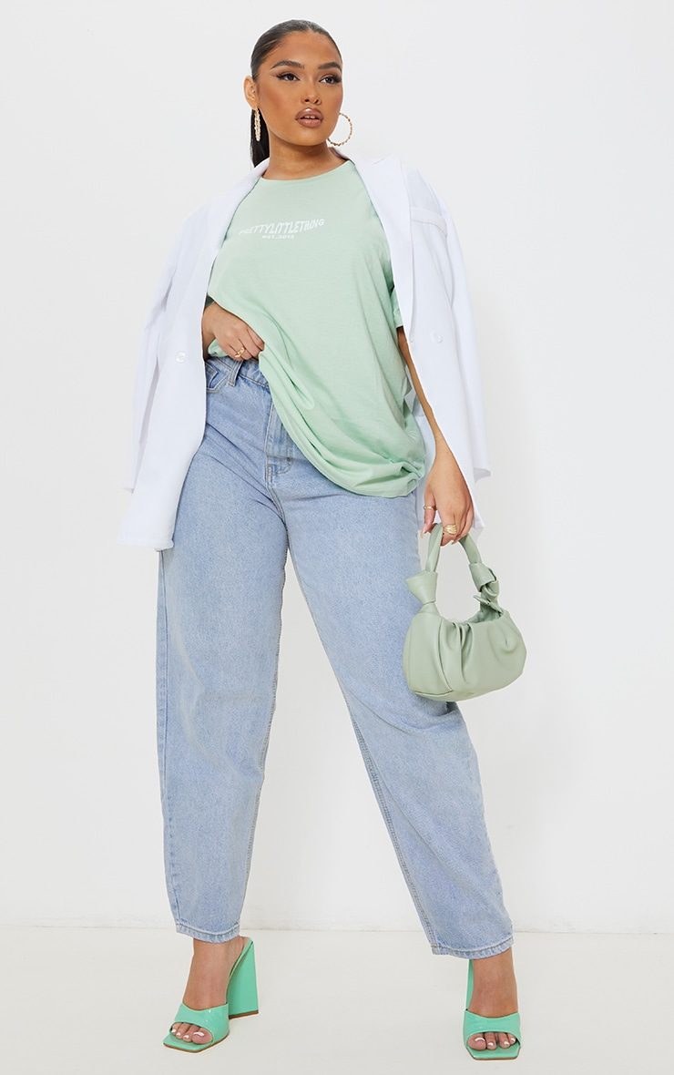 PRETTYLITTLETHING Plus Bright Green Cross Front Washed T Shirt 1