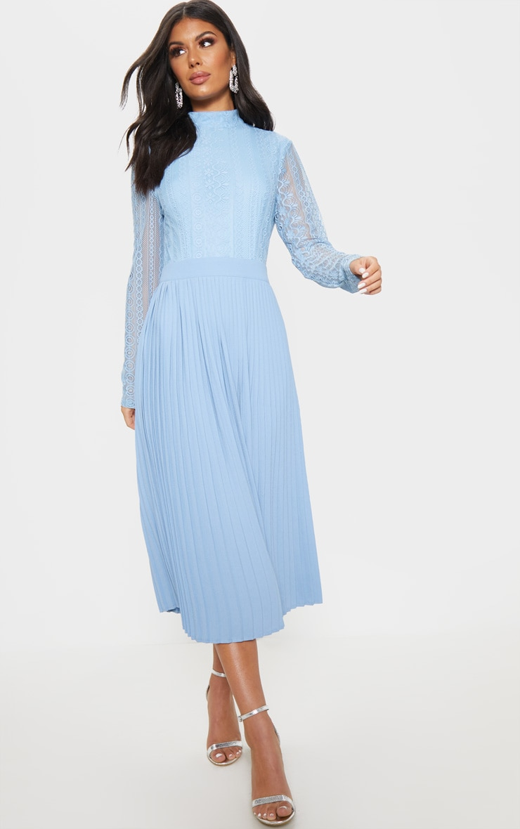 Dusty Blue Lace Top Pleated Midi Dress 1