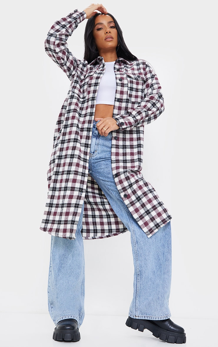 Red Check Button Down Maxi Shacket 1