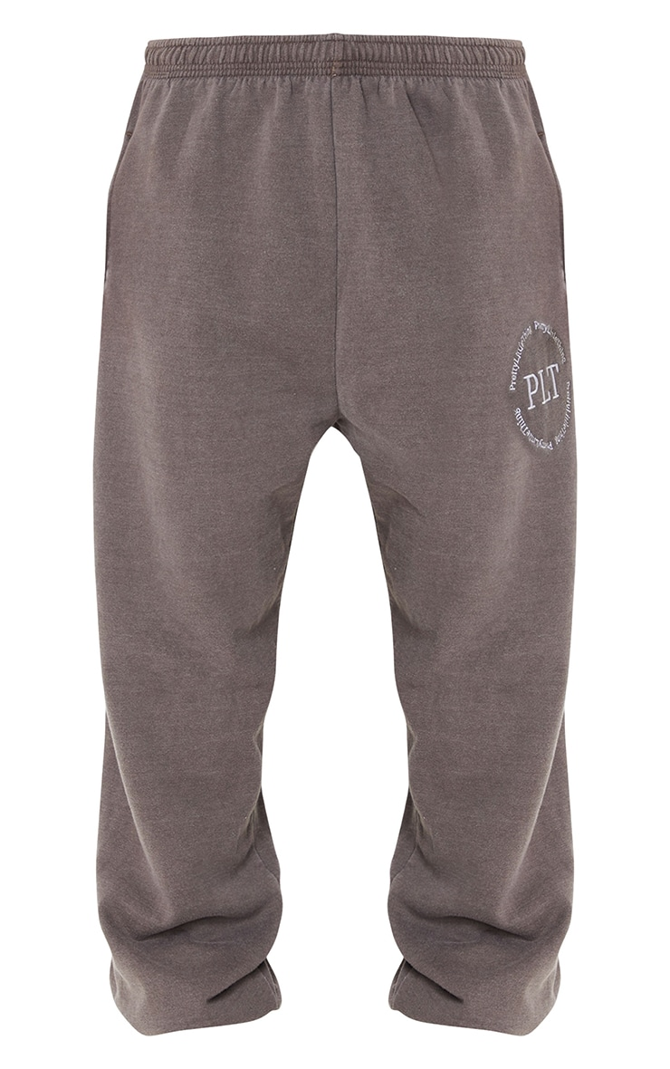 Brown Washed Health Club Embroidered Casual Joggers 5