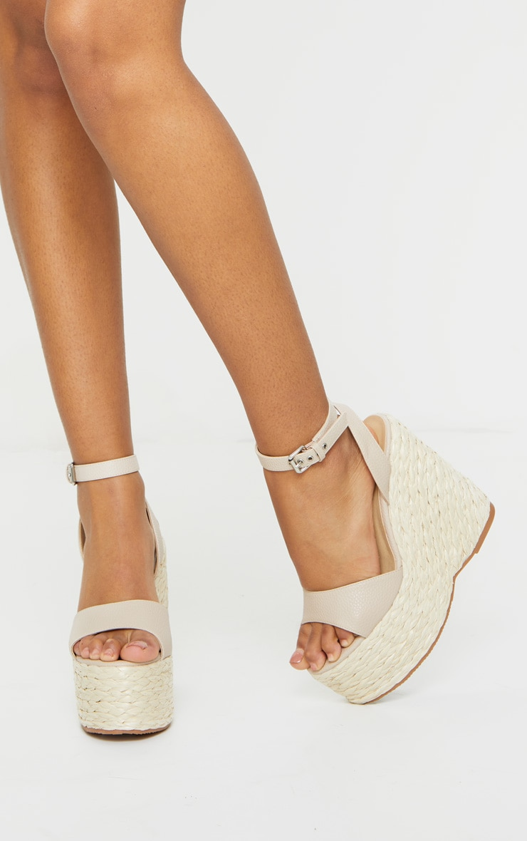Nude Raffia Chunky Rope Ankle Strap Wedges