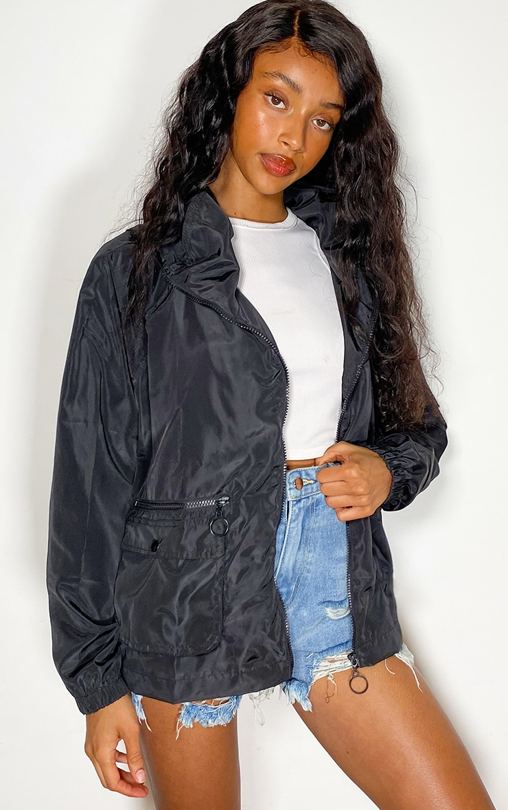 Black Nylon Pocket Front Zip Detail Tracksuit Jacket 1