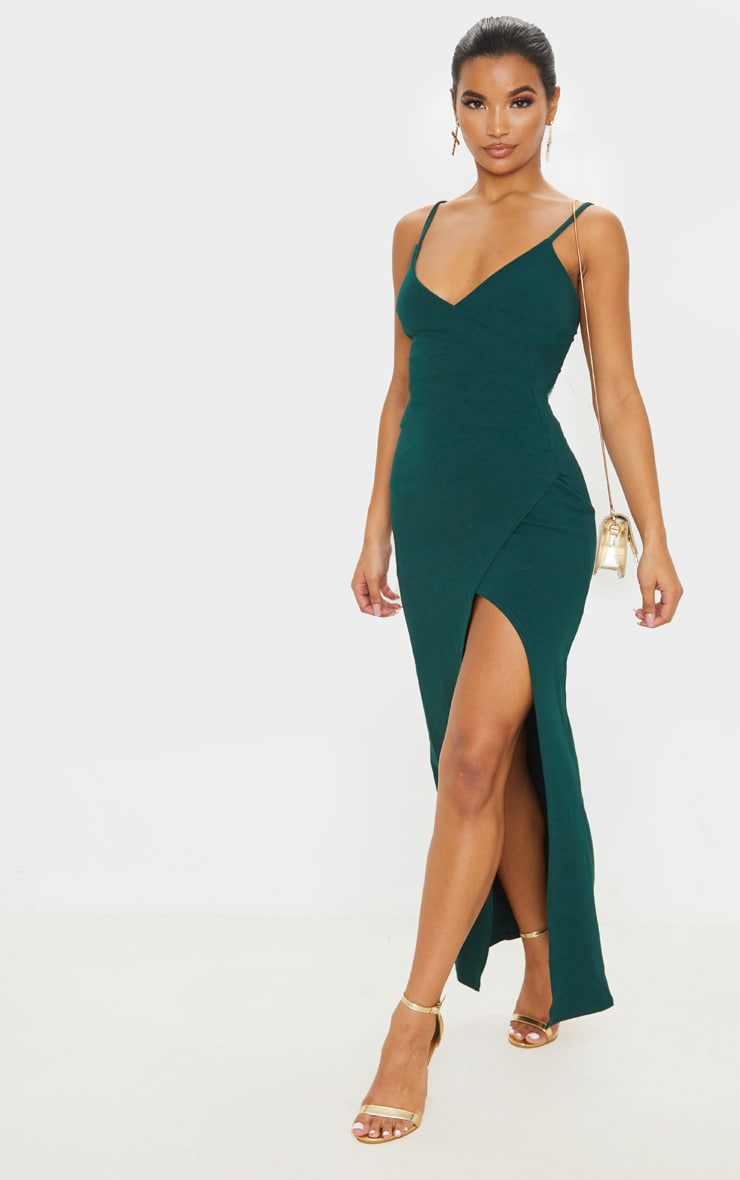 Emerald Green Wrap Front Crepe Maxi Dress 1