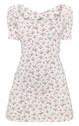White Ditsy Floral Print Square Neck Shift Dress 3