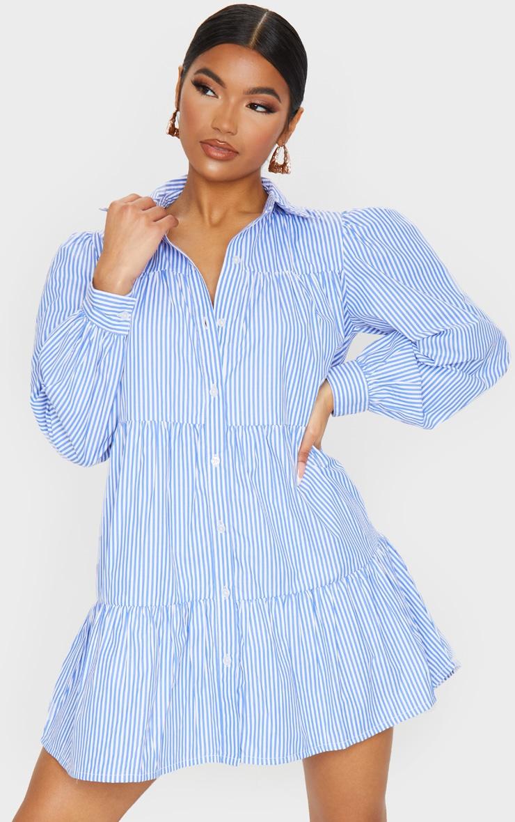 Blue Stripe Long Sleeve Tiered Shirt Dress 1