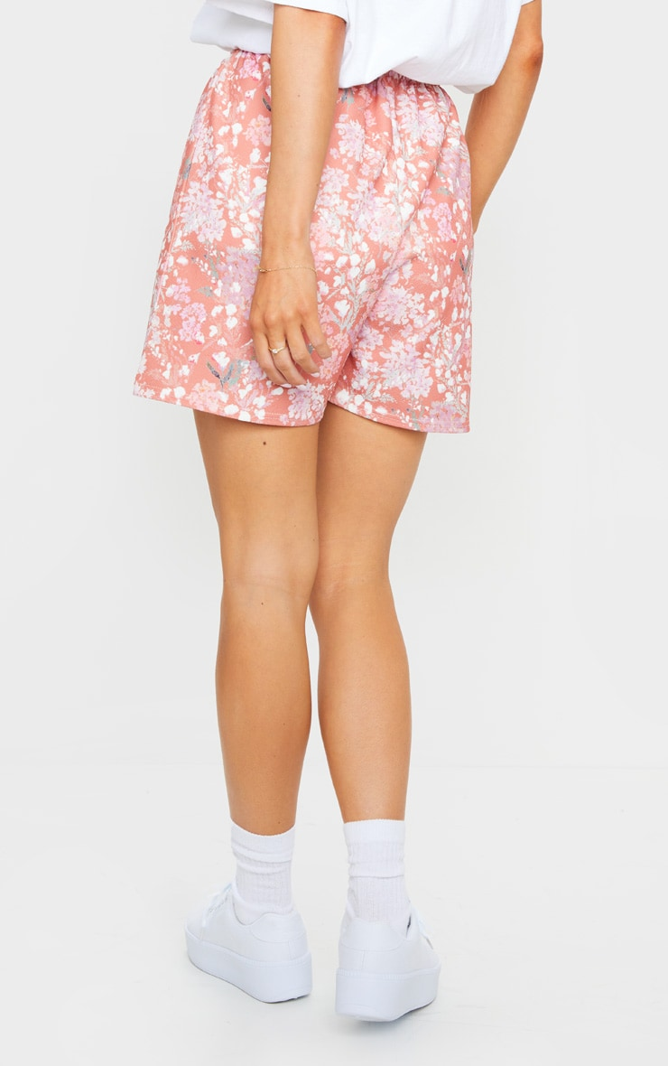 Pink Ditsy Floral Print Oversized Floaty Shorts 3