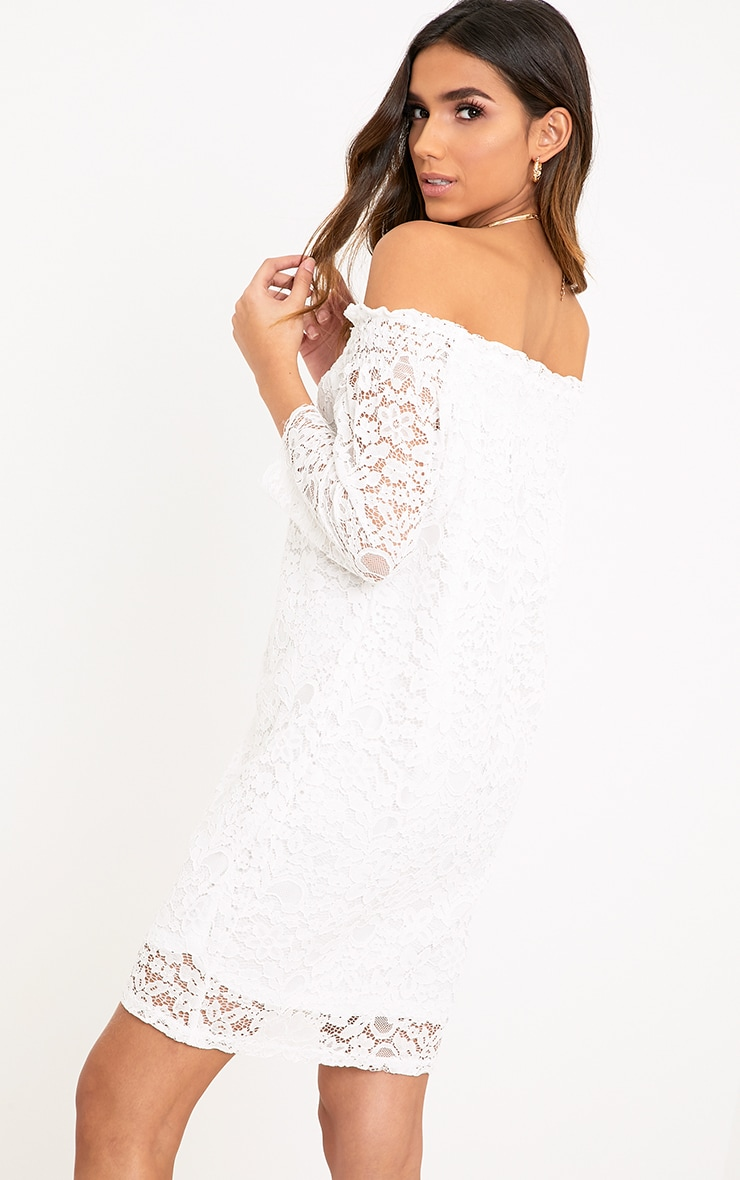 Cora White Lace Bardot Shift Dress 2