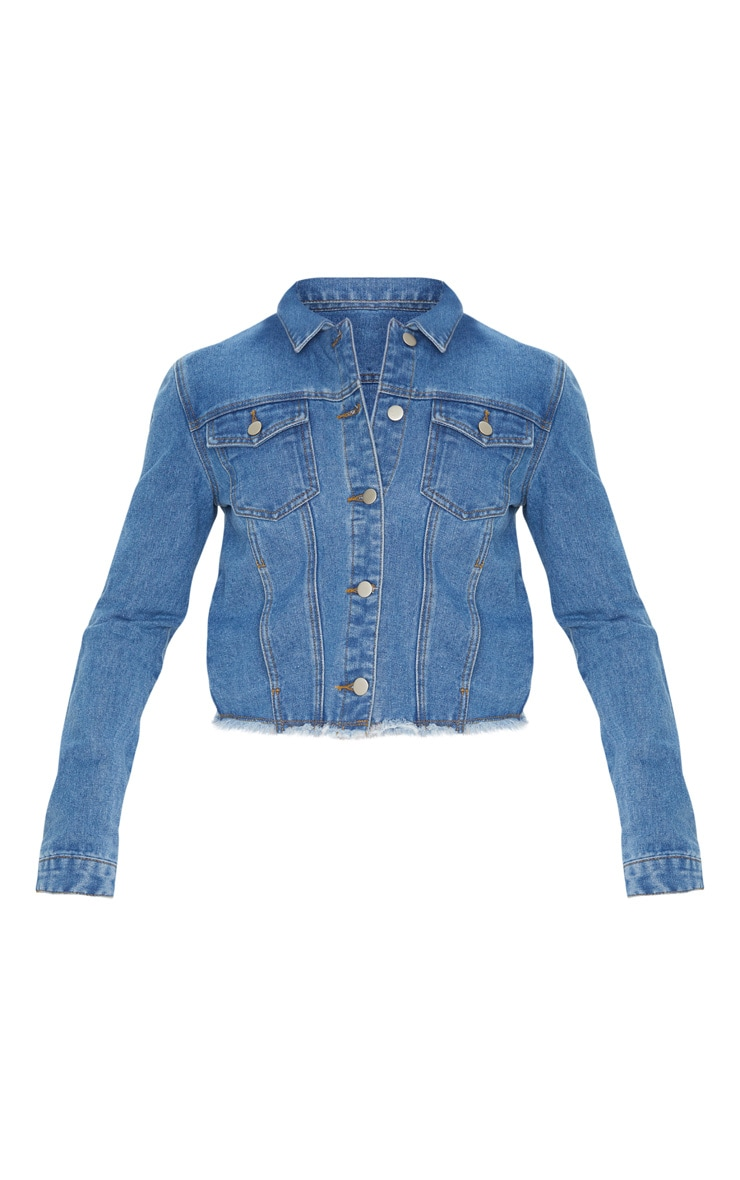 Mid Wash Basic Raw Hem Cropped Denim Jacket 3