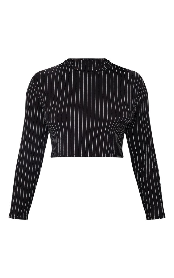 Plus Black High Neck Stripe Crop Top 3