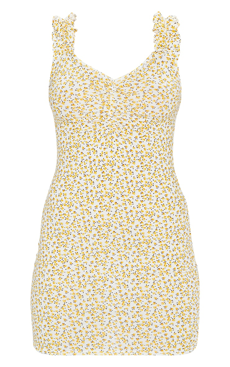 Yellow Ditsy Floral Ruched Bodycon Dress 5