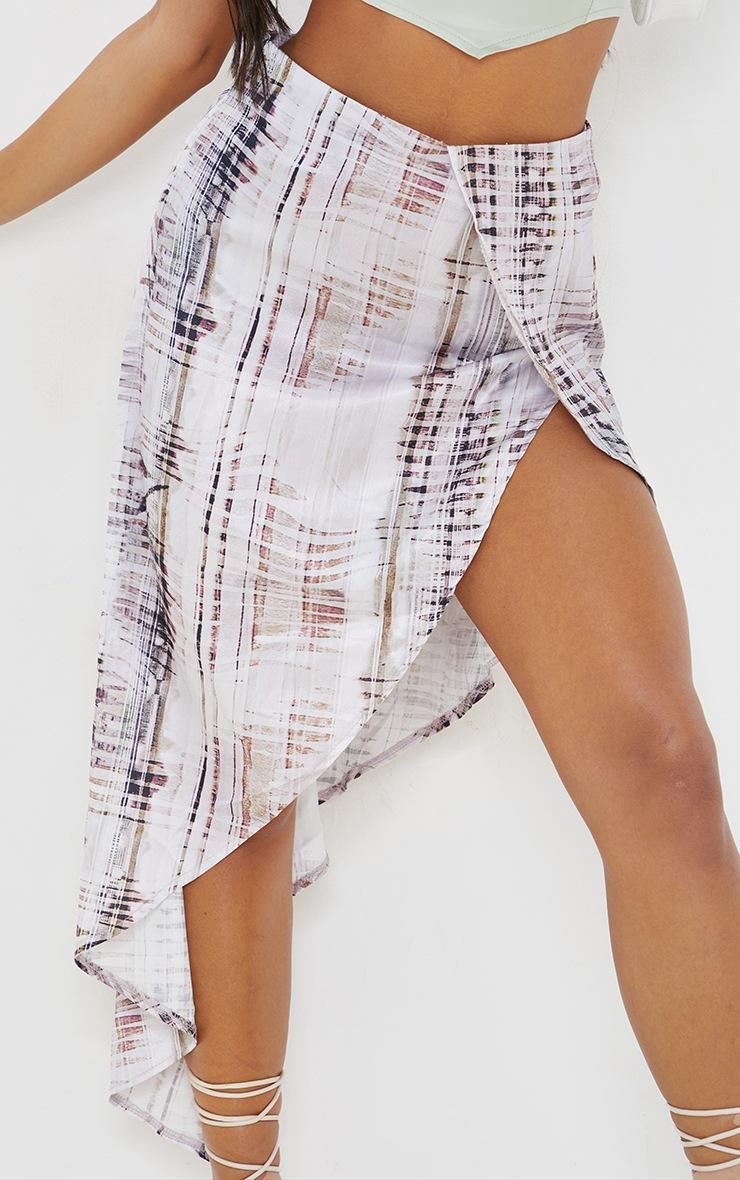 Stone Abstract Print Satin Asymmetric Skirt 5