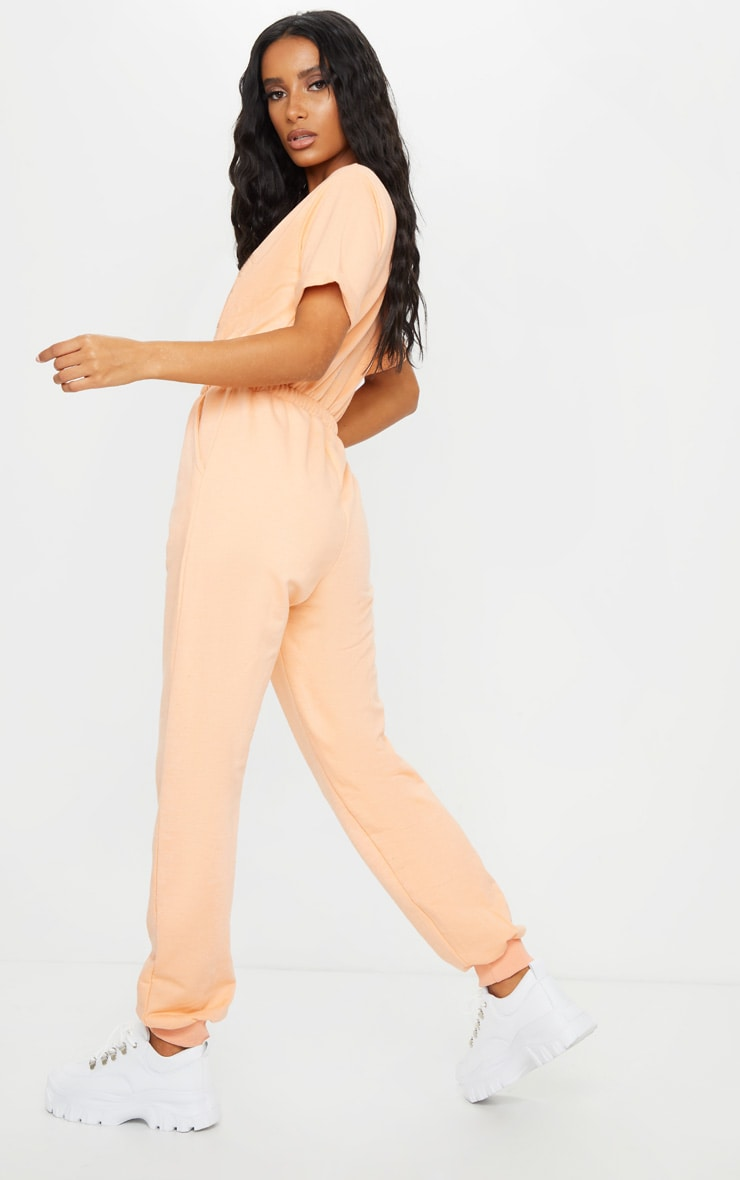 Peach Short Sleeve Sweat Jumpsuit 2