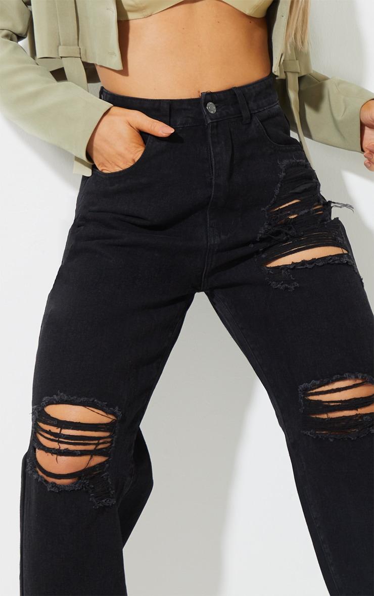 Washed Black Ripped Split Hem Boyfriend Jeans 4