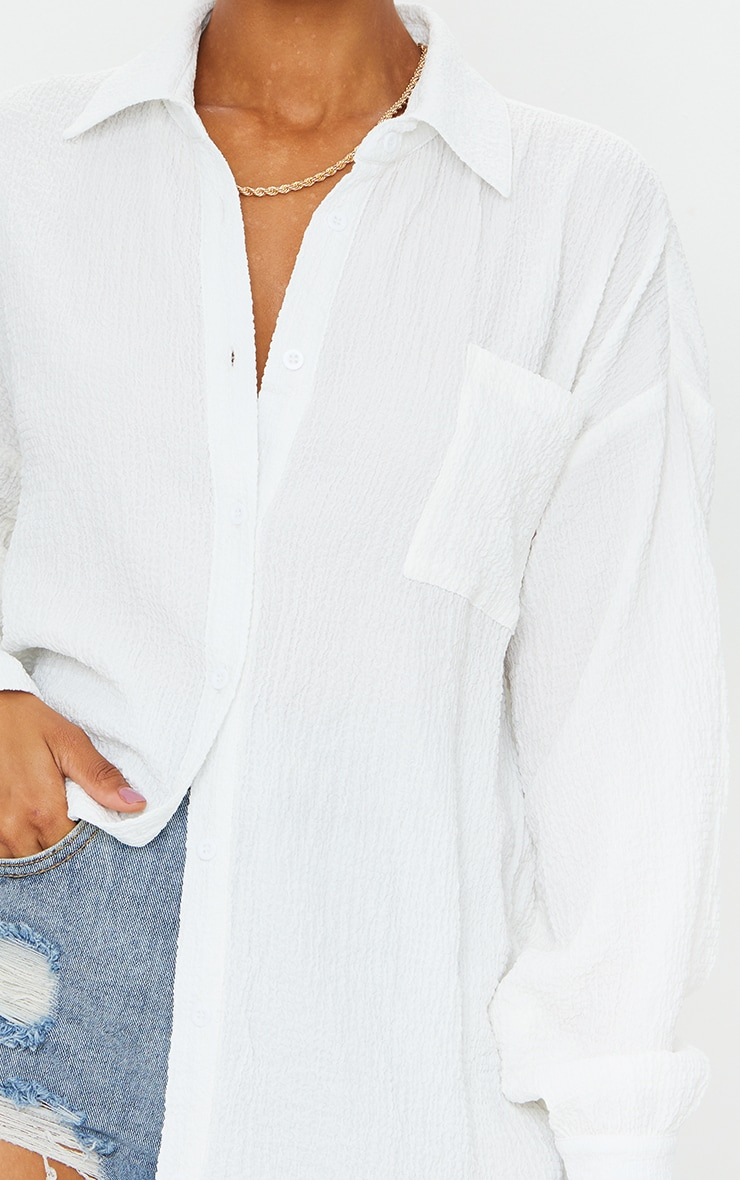 White Textured Pocket Front Oversized Shirt 4