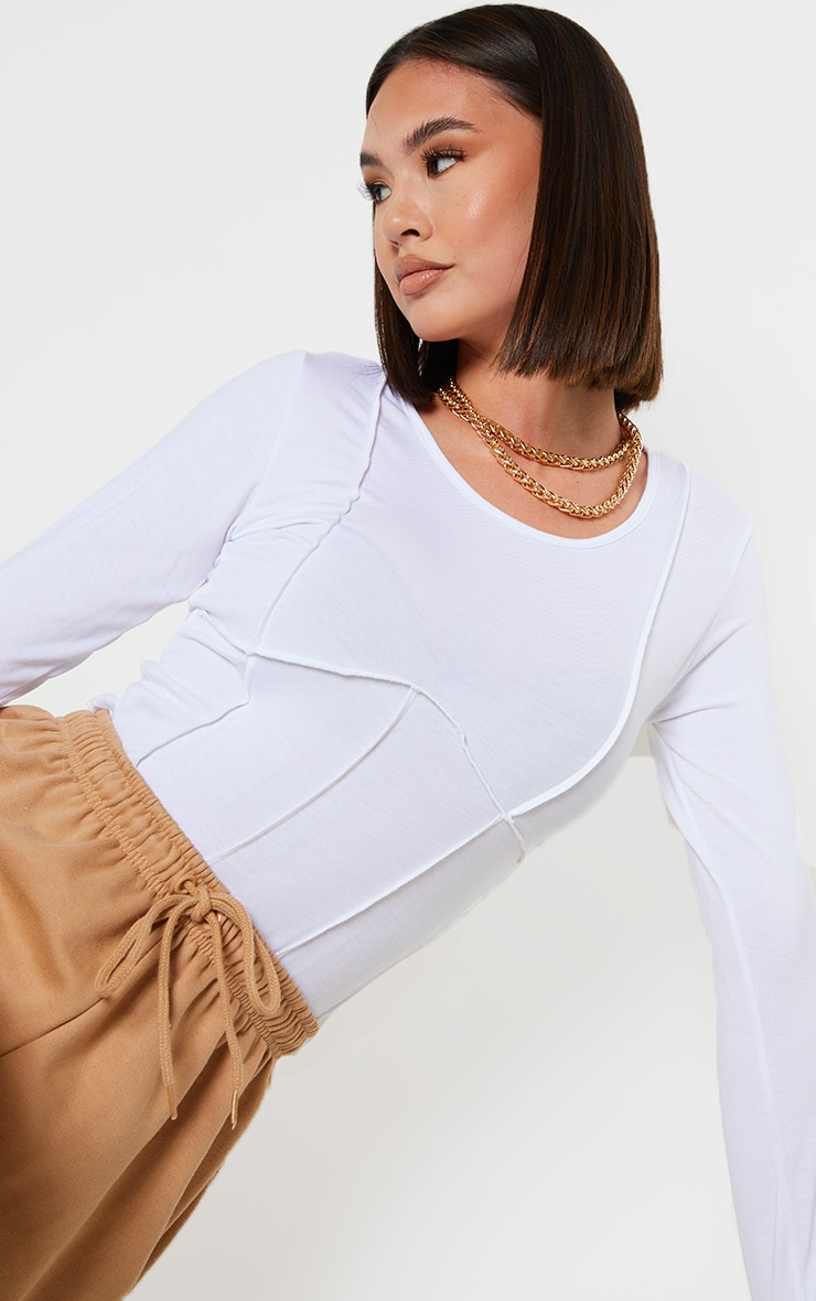 White Exposed Seam Corset Detail Long Sleeve Crop Top 1