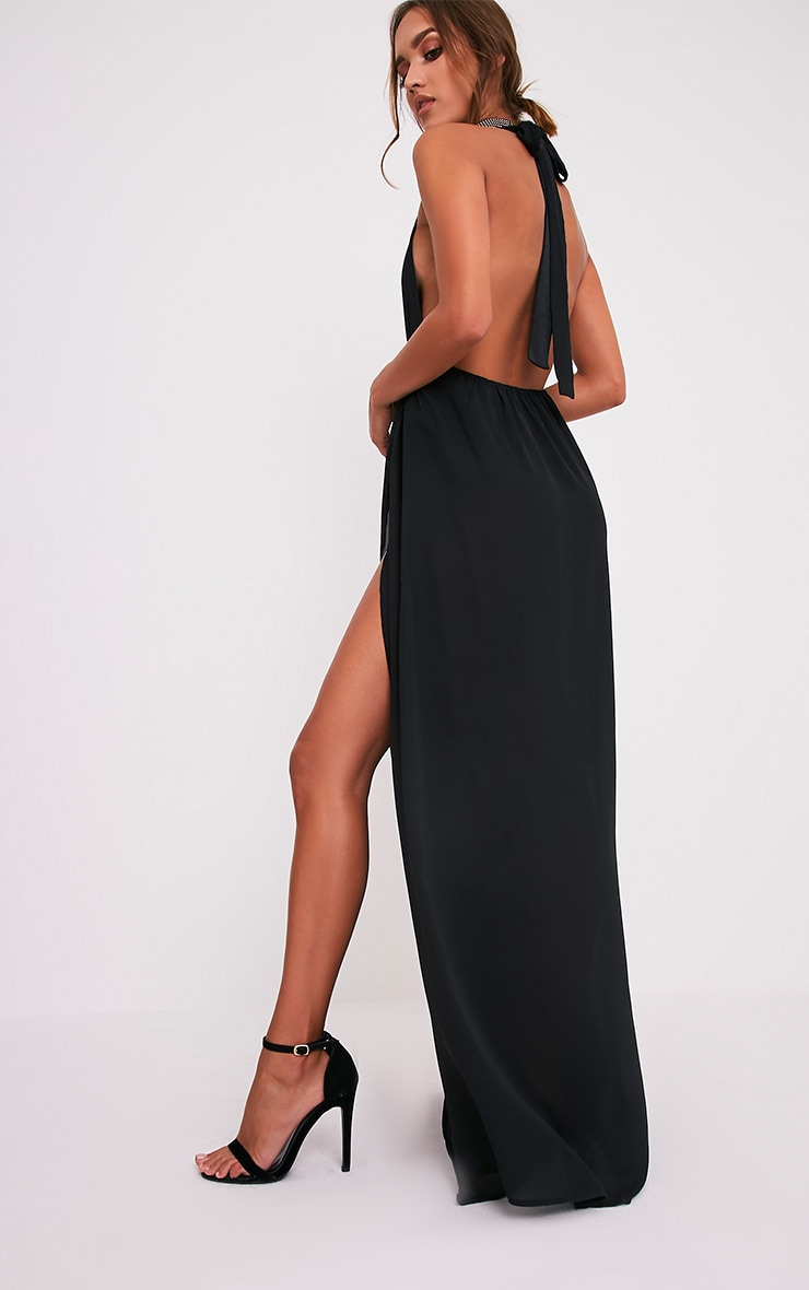 Alina Black Plunge Maxi Dress 4