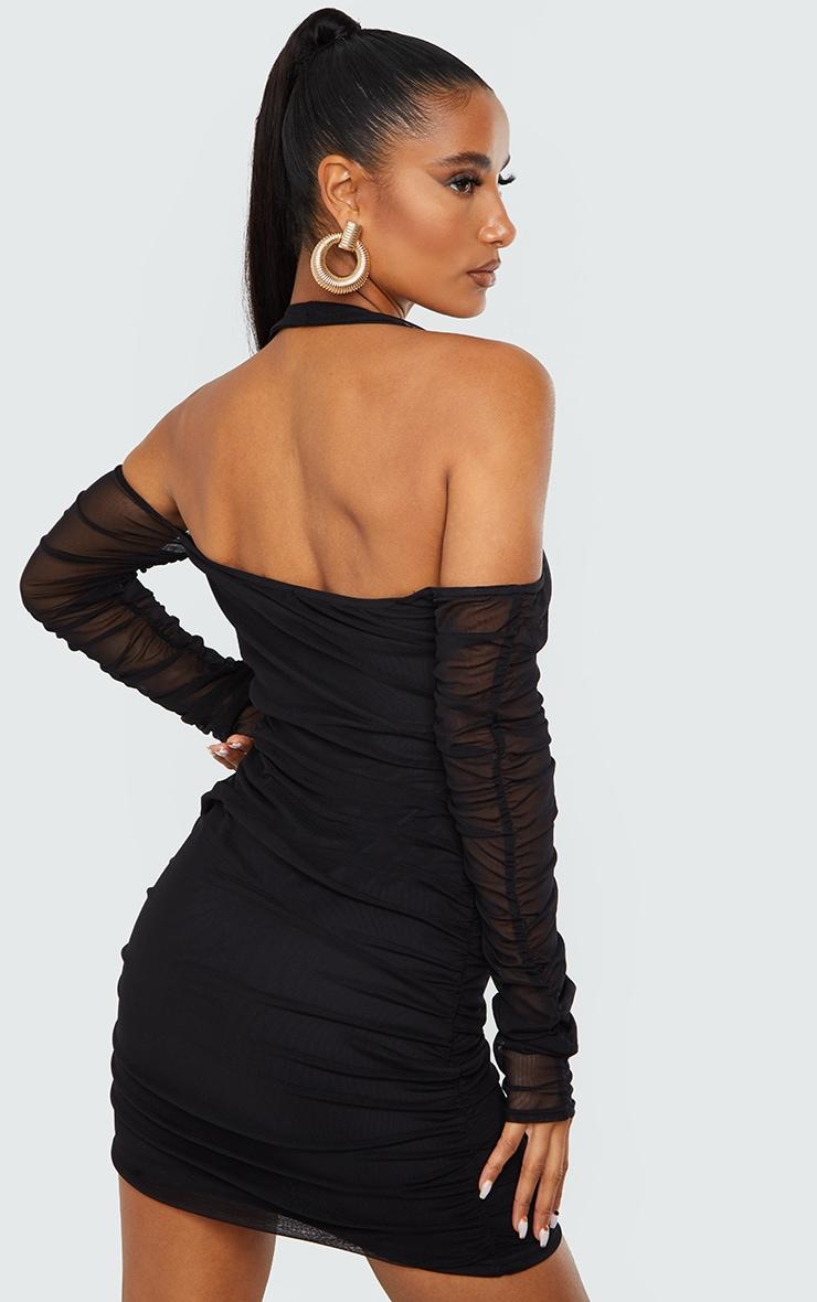 Black Halterneck Long Sleeve Mesh Ruched Bodycon Dress 2