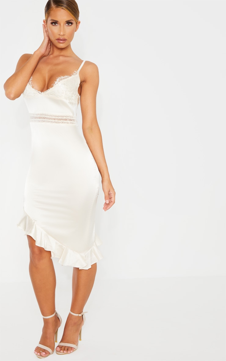 Champagne Lace Detail Asymmetric Hem Midi Dress 4