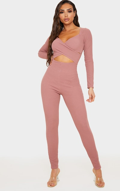 Mauve Rib Cross Over Long Sleeve Jumpsuit