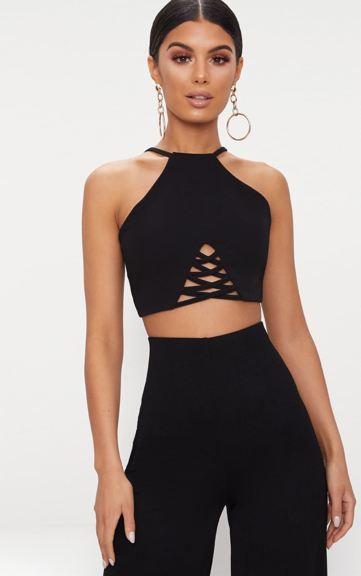 Black Crepe Lace Up Detail High Neck Crop Top 1