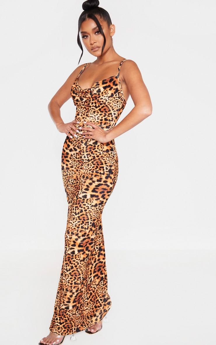 Tan Velvet Leopard Print Strappy Maxi Dress 4