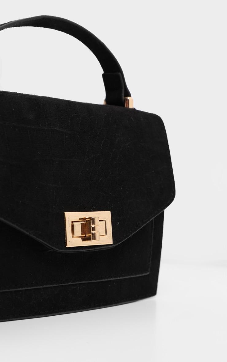 Black Croc Embossed Box Cross Body Bag 2