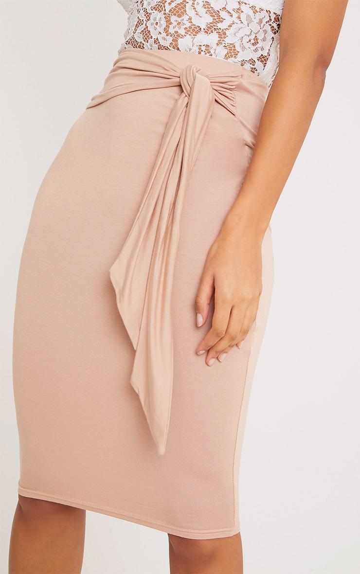 Jaina Nude Tie Front Midi Skirt  6