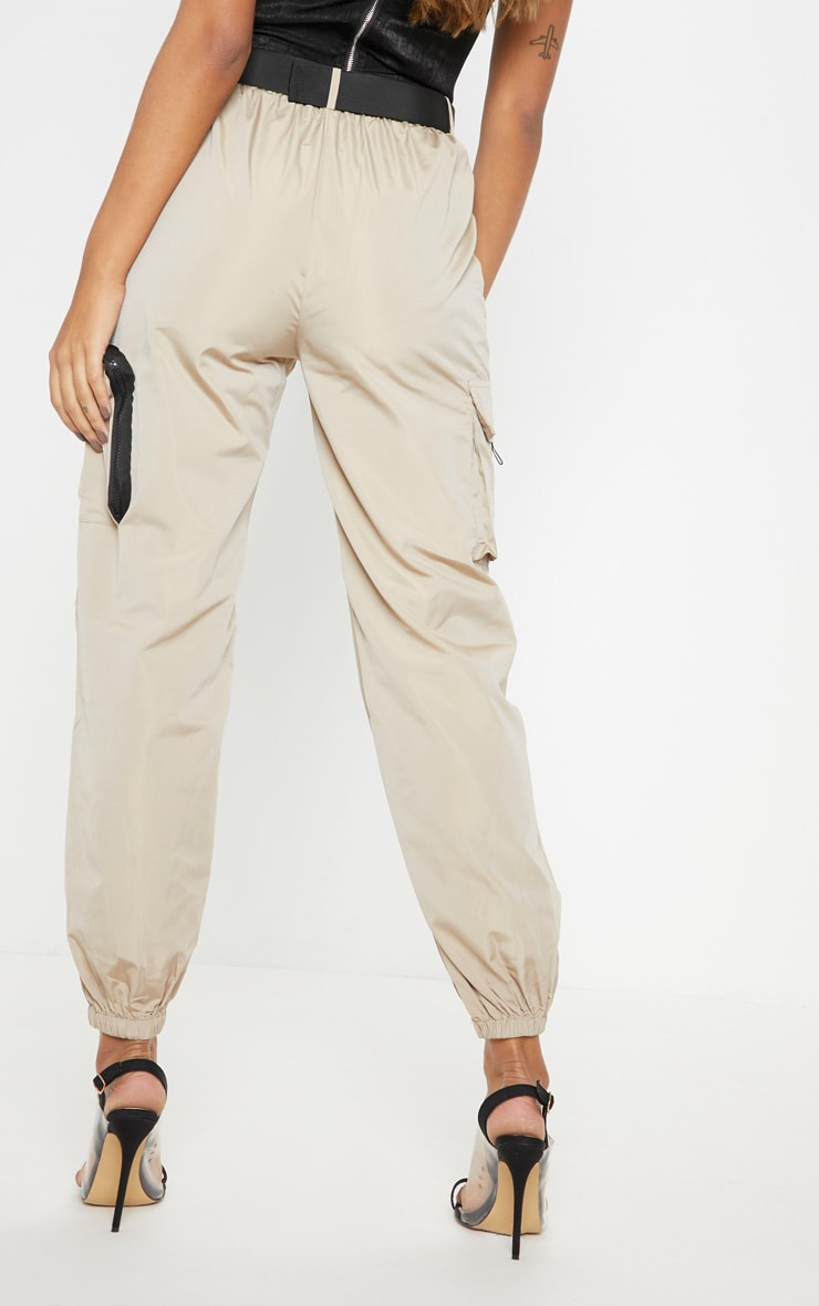Stone Shell Belted Pocket Detail Joggers 4