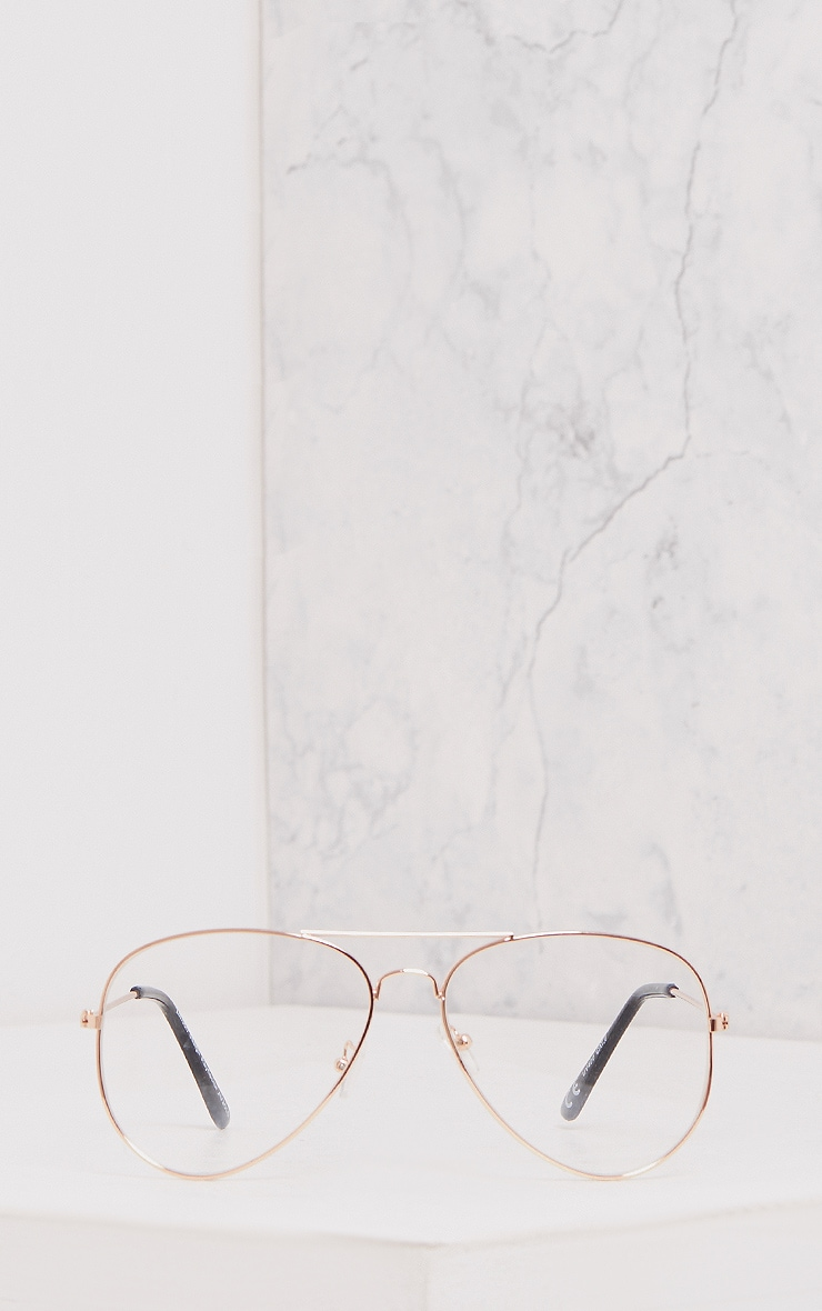 Kennie Rose Gold Clear Lens Aviators 3