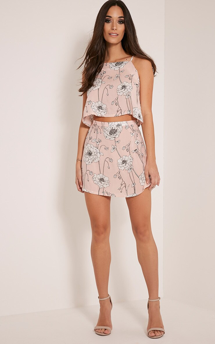 Paulina Pink Floral Print A-Line Mini Skirt 6