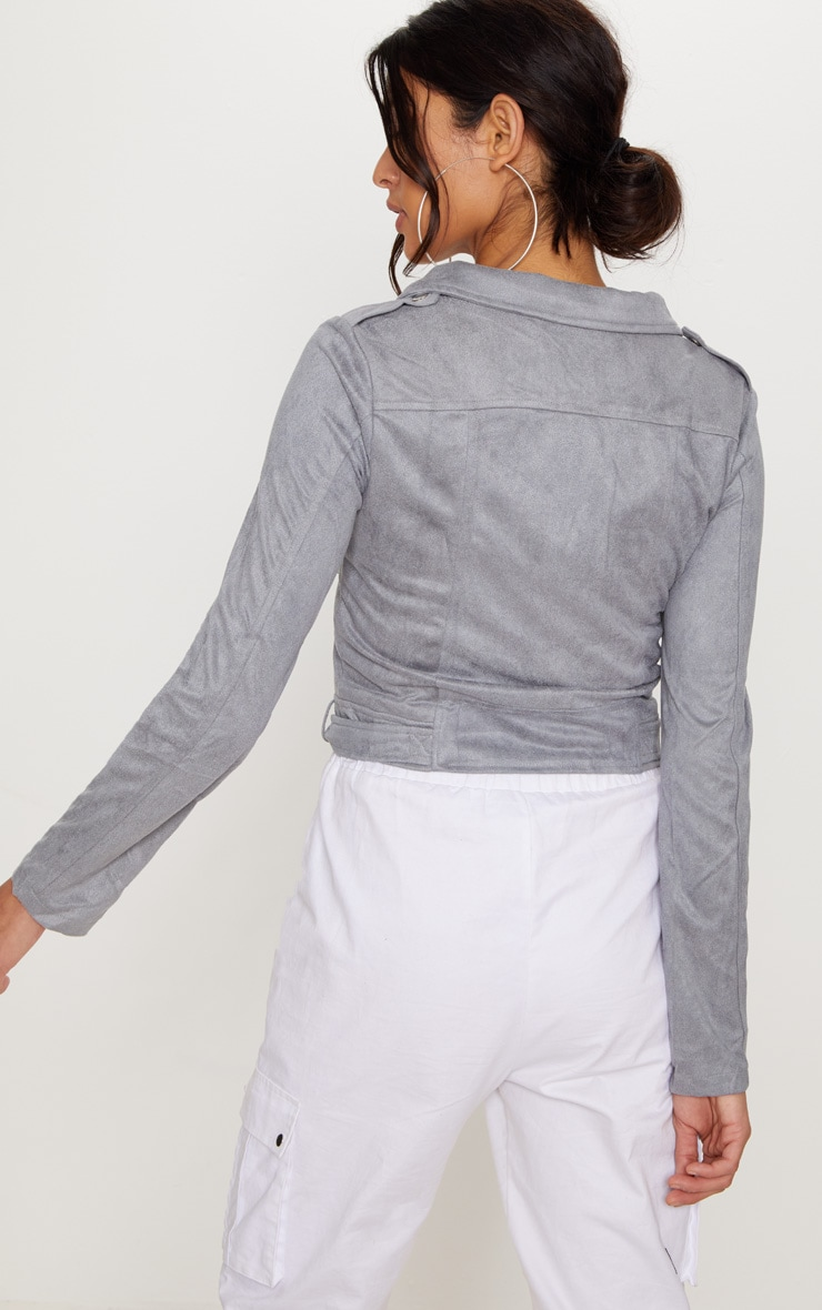 Niki Grey Faux Suede Biker Jacket 2