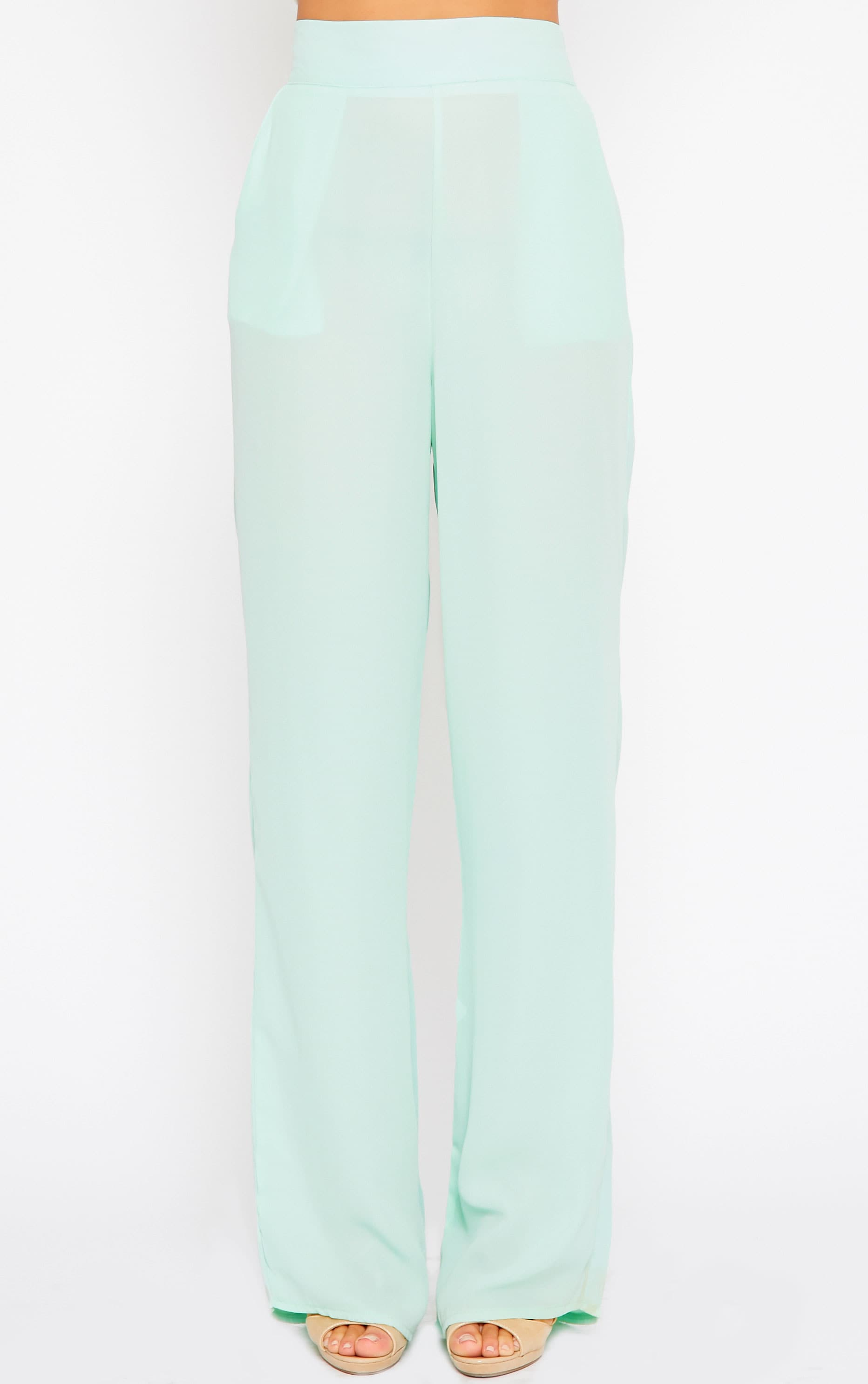 Theadora Mint Chiffon Wide Leg Trousers 2