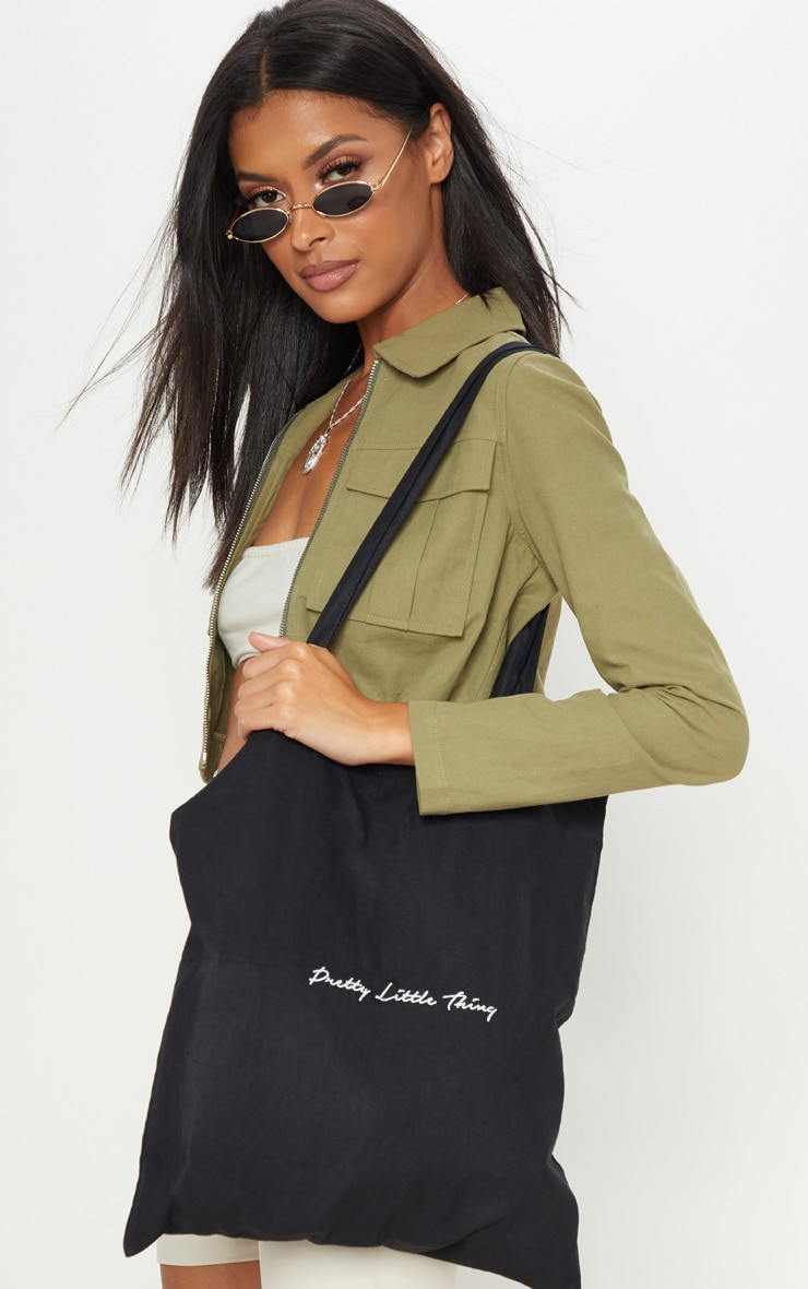 PRETTYLITTLETHING Black Tote Bag 1