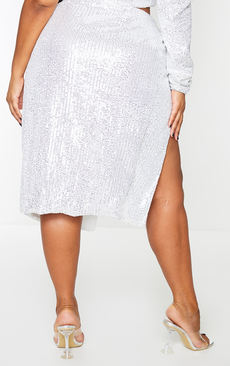 Plus Silver Sequin Ruched Side Split Midi Skirt 3