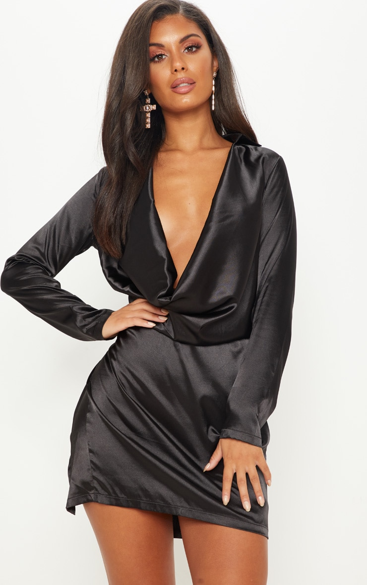 Black Satin Cowl Neck Extreme Open Back Bodycon Dress 4