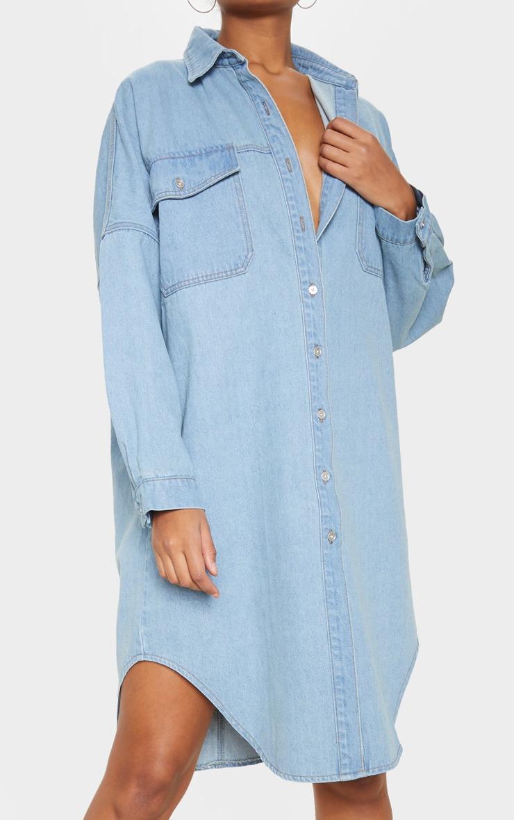 Light Wash Longline Oversized Denim Shirt Dress 5