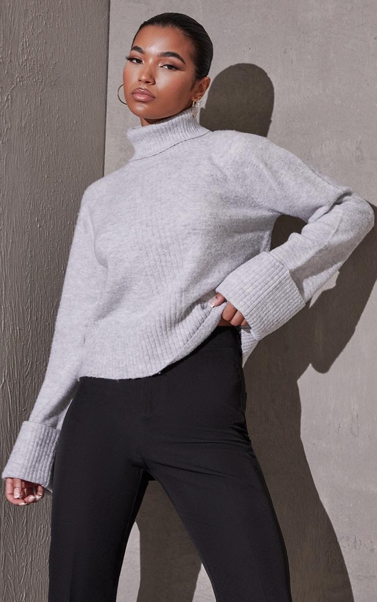 Light Grey Deep Cuff Roll Neck Sweater 1