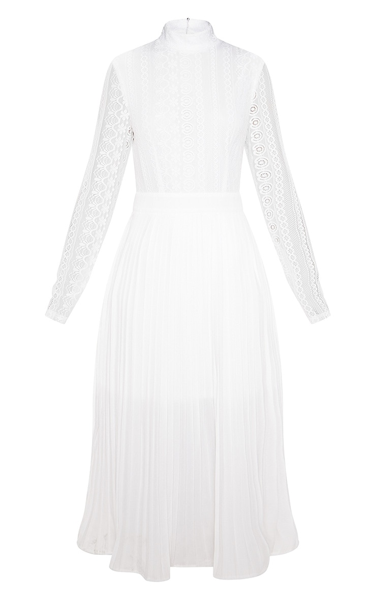 White Lace Top Pleated Midi Dress 3