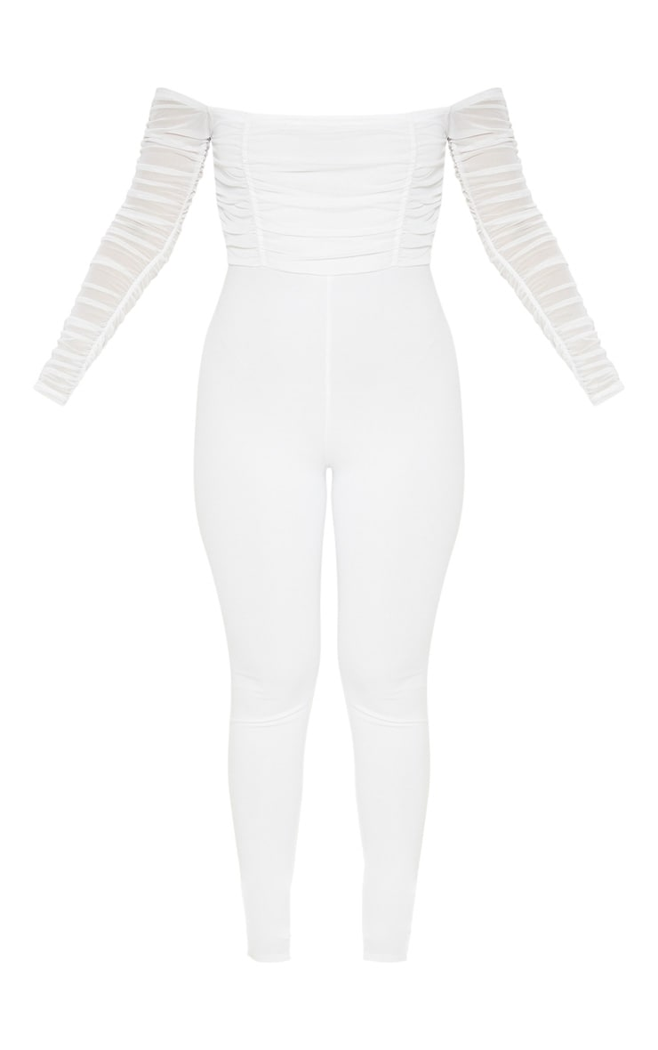 White Mesh Bardot Long Sleeve Jumpsuit 3