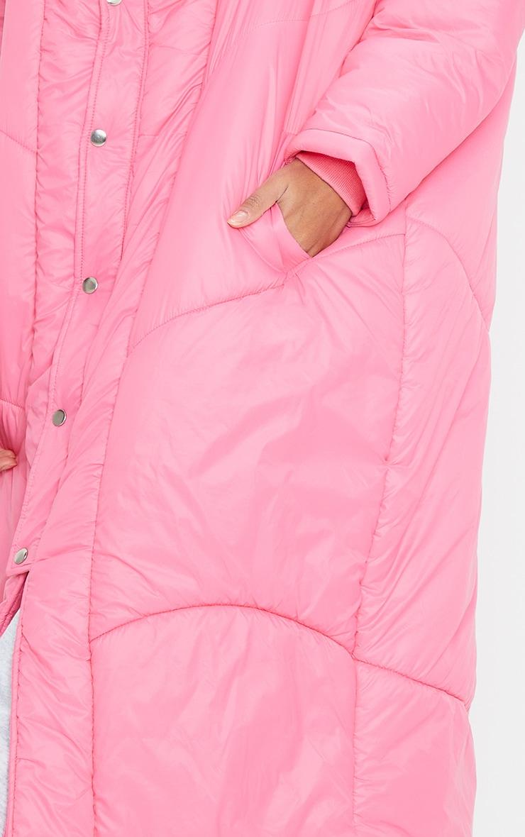 Dark Pink Midi Oversized Puffer Coat 4